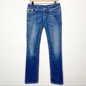 Miss Me Straight Leg Bling Whiskered Cowgirl Jeans